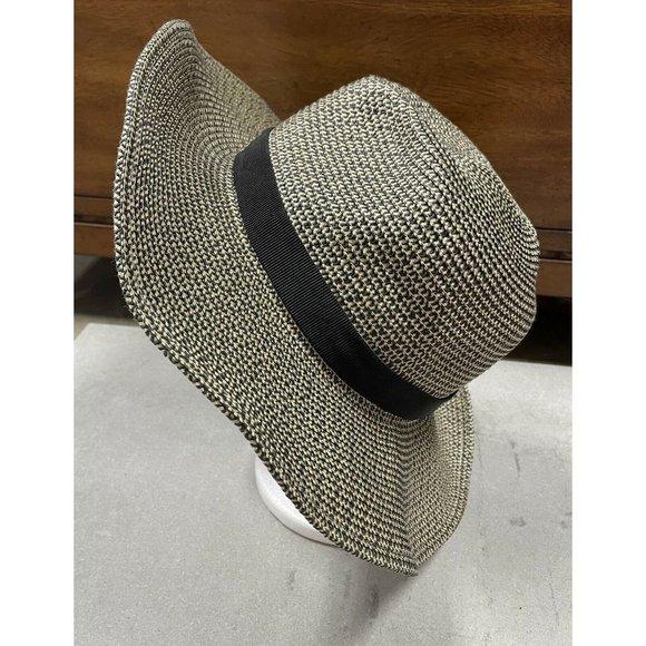 J. Crew Packable straw hat H8871 black ivory M/L